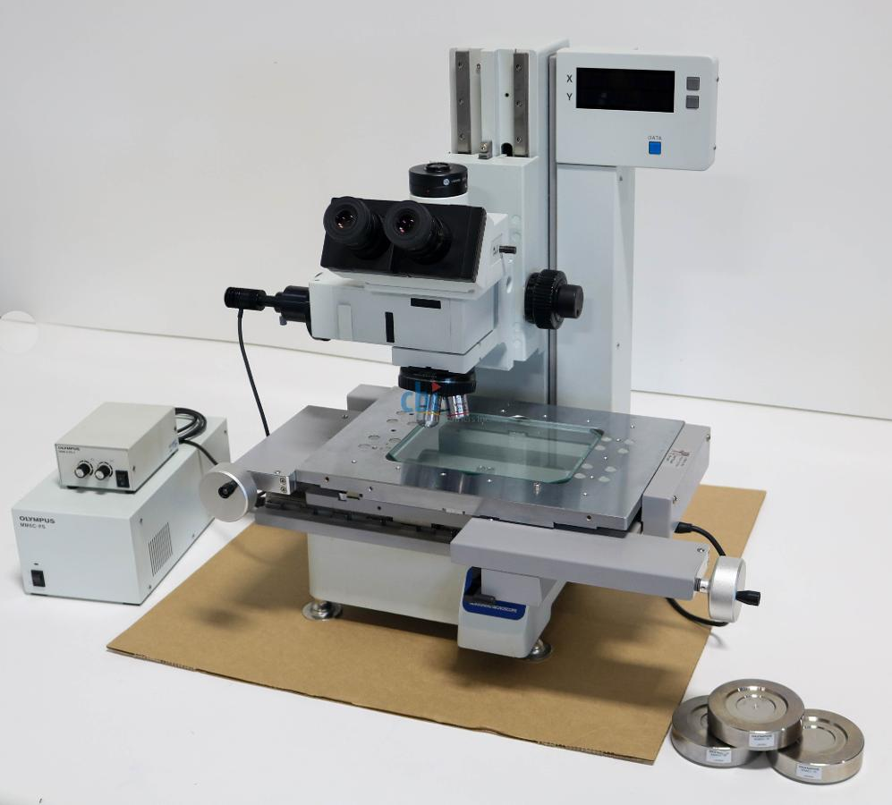 OLYMPUS TWO AXIS MEASURING MICROSCOPE 150MM X 100MM 0.5 MICRON